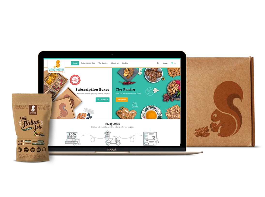 snacked branding, packaging and ux and ui